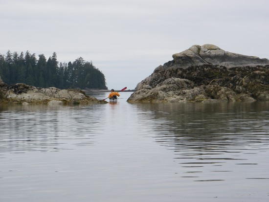 kayaking Vancouver Island Broken Group Islands kayaking between islets