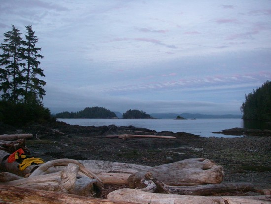 kayaking Vancouver Island Broken Group Islands looking out from camp