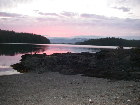 kayaking Vancouver Island Broken Group Islands camp at sunset