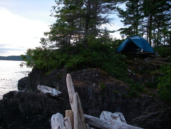 Kayaking Vancouver Island Johnstone Strait rocky shoreline camp