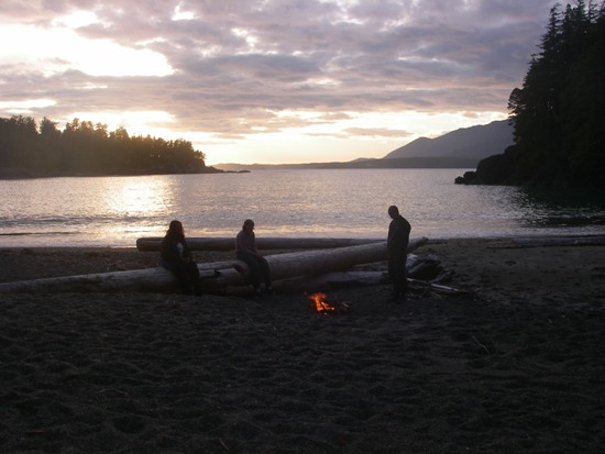 Kayaking Vancouver Island Nootka Sound campfire on the beach