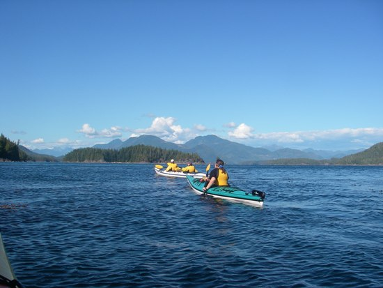 Kayaking Vancouver Island Nootka Sound paddling in the sunshine
