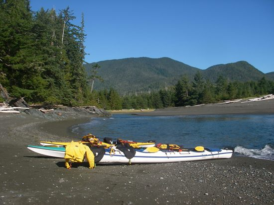 Kayaking Vancouver Island Nootka Sound beach stop for lunch