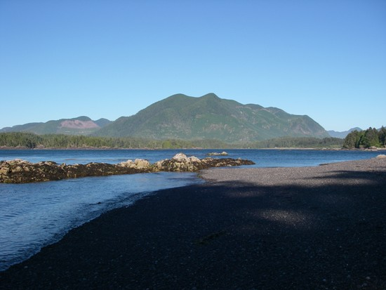Kayaking Vancouver Island Nuchatlitz Inlet shady afternoon beach